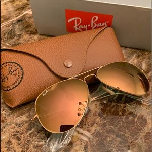 Ray Ban Aviator Sunglasses Rose Pink Lenses NEW!